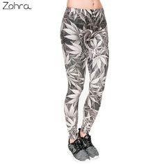 dce52b4862bb9 Zohra High Quality Leggings Women Gray Leaves Printing Fitness Legging Sexy  Silm Fit Legins High Waist