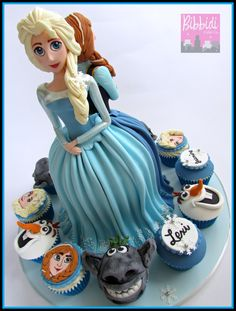 Frozen Elsa and Anna cake and cupcakes by Bibbidi Cake Co