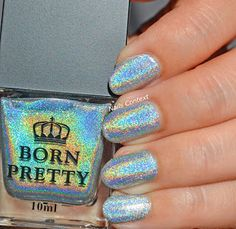 Born Pretty- Magic rainbow (a beautiful silver holographic polish which looks like magic in sunlight)(used 2 coats w/a top coat) Born Pretty Store, Holographic Nails, Top Coat, Love Nails, Coupon Codes, Sunlight, Nail Polish, Things To Come, Nail Art