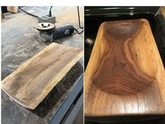 I took a class recently to learn how to make a bowl or tray from a piece of a log. Not having any skill with carving wood, I was a little apprehensive, but lea… Carved Wooden Bowl, Wooden Dough Bowl, Wood Bowls, Wooden Spoons, Diy Wood Projects, Wood Crafts, Woodworking Projects, Woodworking Jigs, Welding Projects