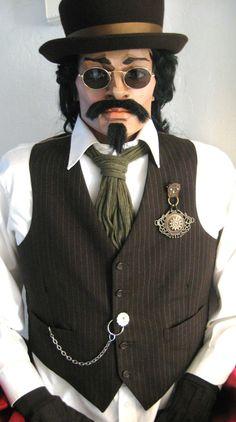 Mens Steampunk Dark Brown Art Vest with Topper BBCs Copper Style Halloween Costume