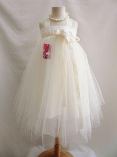 Ivory dancing tutu tulle bridal party flower girl dress choose size 2 4 6 8 10 #TutuHalterdress