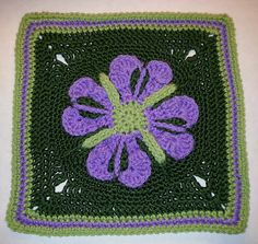 """Day 24: 12"""" Block of the Day - Blooming Hearts 12 Inch Afghan Square by Jessica Phillips Free Pattern:"""