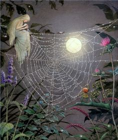 Mending the spider's silken thread ≍ Nature's Fairy Nymphs ≍ magical elves, sprites, pixies and winged woodland faeries - Glow of the moon on silken web Fantasy Kunst, Fantasy Art, Fairy Land, Fairy Tales, Elfen Fantasy, Illustration Art, Illustrations, Fairytale Art, Graphic 45