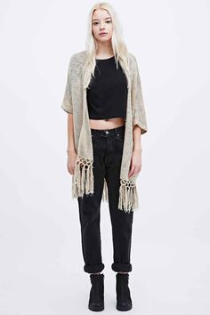 Staring at Stars Crochet Pattern Kimono in Ivory - Urban Outfitters