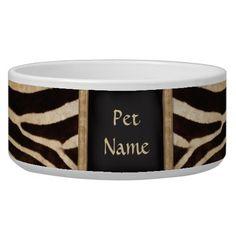 Posh Pet  Zebra Pattern - Customize Dog Water Bowl