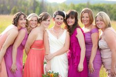 Beautiful, brightly dressed bridesmaids.