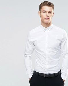 ASOS Skinny Shirt In White With Tie Pin And Long Sleeves