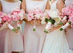 Monogrammed handkerchiefs for bridesmaids' bouquets