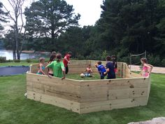 New gaga pit right in the middle of in ground trampoline, volleyball court and tether ball! Kids paradise!