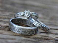 white sapphire engagement ring and wedding band by peacesofindigo