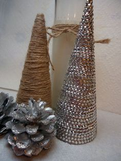 DIY Christmas Decor- Create a Sparkly Rhinestone Covered Christmas Tree Cone