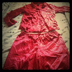 Satin Pajamas Ambrielle red with black polka dot satin Pajamas. Ambrielle Intimates & Sleepwear Pajamas