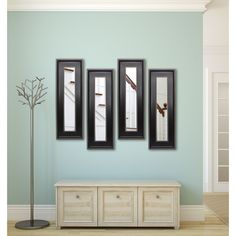 American Made Rayne Black With Silver Caged Trim Mirror Panel (Set of 4- 12.25 x 38.25), Black/Silver