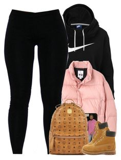 Untitled #1505 by power-beauty ❤ liked on Polyvore featuring NIKE, Y-3, MCM and Timberland