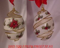 carved and embellished eggshell Christmas Makes, Christmas Art, Christmas Ornaments, Dog Ornaments, Ornaments Design, Egg Crafts, Easter Crafts, Carved Eggs, Homemade Christmas Decorations