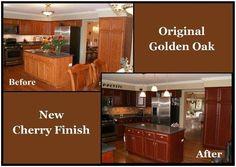 Golden Oak Kitchen Cabinets Restain Dark Interior Mykitcheninterior