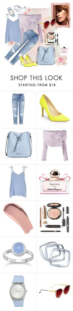 """""""Pastel spring mood"""" by fantastic-sunglasses ❤ liked on Polyvore featuring Rothko, Miss Selfridge, Jessica Simpson, Armani Jeans, Daizy Shely, River Island, Salvatore Ferragamo, Burberry, GUESS by Marciano and ESCADA"""