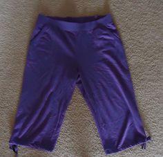 Hanes Capri Cropped Cotton Blend Sweatpants -Large - Purple -Drawstring leg #Hanes #CaprisCropped