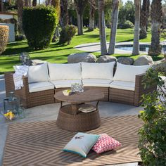 Have to have it. Coral Coast Albena All-Weather Wicker Curved Sofa Sectional Conversation Set - $1099.98 @hayneedle
