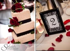 Splash Photography | Carmen's Banquet Centre Black White Red Damask Wedding Cake Table Numbers