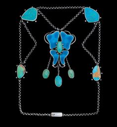 Charles Robert Ashbee. Guild of Handicraft Ltd 1888-1907  Arts and Crafts necklace, silver, enamel and turquoise. British, c. 1900. Sold by Tadema Gallery. View 2.