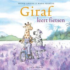 Boekenhoek: giraf leert fietsen Flat Illustration, Safari, Preschool, Van, Bike, Sports, Animals, Fictional Characters, Mindset