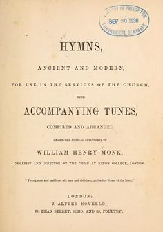 1861 Hymnal Adelaide uses at St Thomas on the HIll. King's College, St Thomas, Choir, Musicals, Books, Greek Chorus, Libros, Book, Choirs