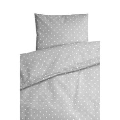 grey and white dotty cot bedding