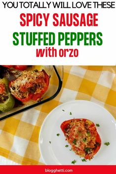Spicy Sausage Stuffed Peppers with Orzo and Rice is a comforting and filling meal that takes the classic recipe up a level. #sausage #peppers #stuffedpeppers #orzo #rice #spicy Stuffed Pepper Casserole, Cheese Stuffed Peppers, Sausage And Peppers, Spicy Sausage, Easy Dinner Recipes, Easy Meals, Delicious Recipes, Rice Recipes, Pork Recipes