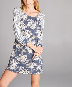 This Love, Kuza Blue Floral Raglan Shift Dress by Love, Kuza is perfect! #zulilyfinds