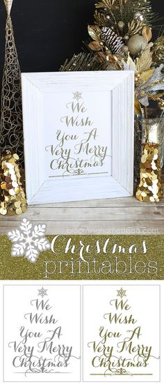 Pretty Christmas Printables in Gold or Gray for free download!: