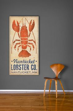 CUSTOM Nantucket Lobster Co. Graphic Illustration on Stretched and Varnished Canvas Wall Art 12x24x1.5 inches Ready to Hang. $165.00, via Etsy.