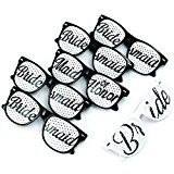 Bridal Bachelorette Wedding Party Sunglasses  Bride and Bridesmaid Party Favors  Selfie Kit with 6 Pairs of Themed Novelty Glasses for Memorable Photo Booth Fun or a Perfect Night Out (6 Black)