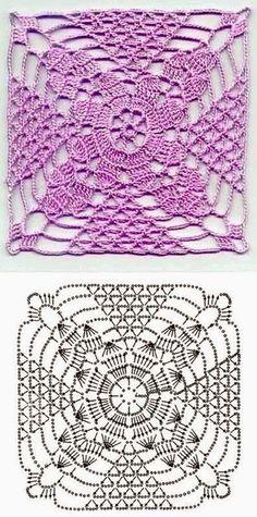 Transcendent Crochet a Solid Granny Square Ideas. Inconceivable Crochet a Solid Granny Square Ideas. Crochet Square Patterns, Crochet Motifs, Crochet Blocks, Crochet Diagram, Crochet Chart, Crochet Squares, Crochet Stitches Patterns, Thread Crochet, Love Crochet