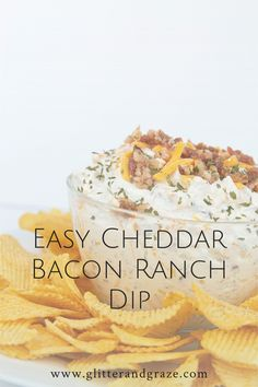 With only 3 ingredients this Easy Cheddar Bacon Ranch Dip can be whipped up in no time and ready to serve in 5 minutes at your next get together. #ranchdip #baconcheddarranchdip #baconcheddar #easydips #easyappetizers #easyrecipes #simpledip #colddip #partydips #footballdips #superbowldips Best Dip Recipes, Favorite Recipes, Healthy Recipes, Appetizer Dips, Appetizer Recipes, Cheesecake Fruit Dips, Super Bowl Dips, Bacon Ranch Dip, Prayer Tattoo