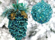 Make your own pinecone ornaments or use for decoration around the house! Glitter Ornaments, Diy Christmas Ornaments, Christmas Projects, Holiday Crafts, Pinecone Ornaments, Christmas Ideas, Ball Ornaments, Peacock Christmas Decorations, Peacock Ornaments