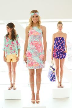 Three looks from Lilly Pulitzer's resort 2016 presentation. Photo: Lilly Pulitzer.