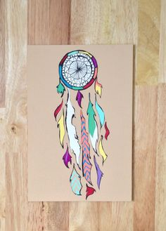 Acrylic Brown Dream Catcher Painting by UrbanDreamCatchers on Etsy, $15.00