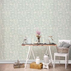 The Woodland wallpaper design offers traditional and intricate patterns that tell a compelling story. Originally launched in the this distinctive woodblock artwork is still compatible with the modern home. Finished with soft, neutral and rich hues. Paper Wallpaper, Tree Wallpaper, Leaves Wallpaper, Animal Wallpaper, Wallpaper Ideas, Blue Floral Wallpaper, Forest Theme, Woodland Animals, Woodland Forest