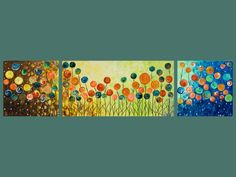 """Original Modern Abstract Heavy Texture Impasto Acrylic Painting Flowers """"Lollipop Field"""" by QIQIGALLERY"""