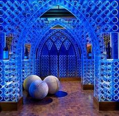 The wine cellar has lights that can be changed to different colors. Whoa.