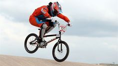 Raymon Van Der Biezen of Netherlands competes during the men's BMX Cycling on Day 12 of the London 2012 Olympic Games at BMX Track.