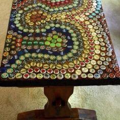 DIY Mosaic Table | Bottle cap mosaic coffee table