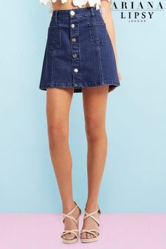 Buy Ariana Grande For Lipsy Button A line Denim Skirt online today at Next: Israel