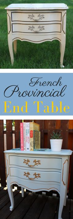 Diy Furniture Easy, Dream Furniture, Diy Furniture Projects, Paint Furniture, Upcycled Furniture, Diy Projects, French Provincial Table, End Table Makeover, Diy End Tables