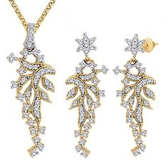 Viyari Dreamy Cluster Cubic Zirconia Pendant Necklace Earrings Jewelry Set -- To view further for this item, visit the image link.