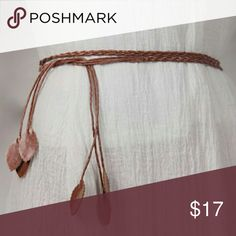 Boho Braided Wrap Belt with Leaf Accent Beautiful Braided Belt, Wrap Style - Goes with anything! Maxi dresses, mini dresses rompers.. etc.! I have black and brown so just picn which color you want as though you are picking a size :) Accessories Belts