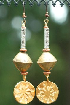 African Brass, Silver and Exotic Gold Disc Dangle Earrings