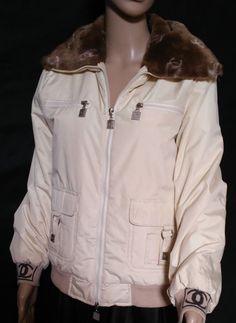 RARE Ivory Chanel Bomber Jacket Biker Faux Fur Collar CC Logo Vintage Authentic   eBay